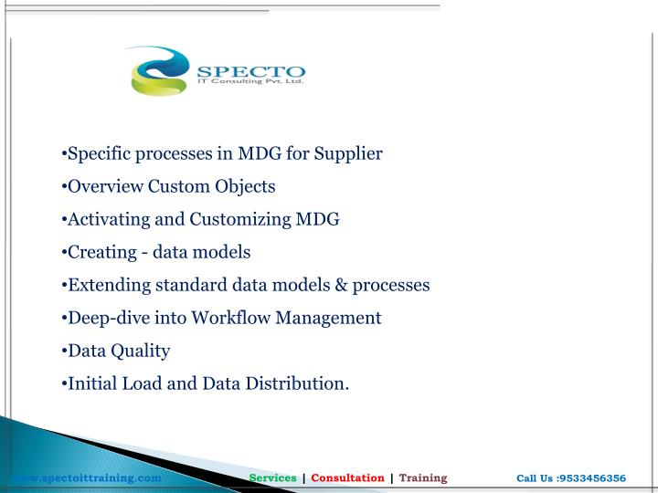 Specific processes in MDG for Supplier