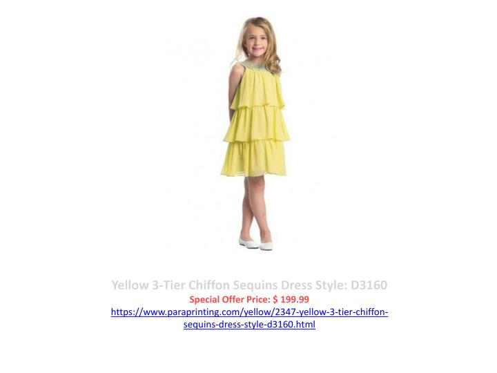 Yellow 3-Tier Chiffon Sequins Dress Style: D3160