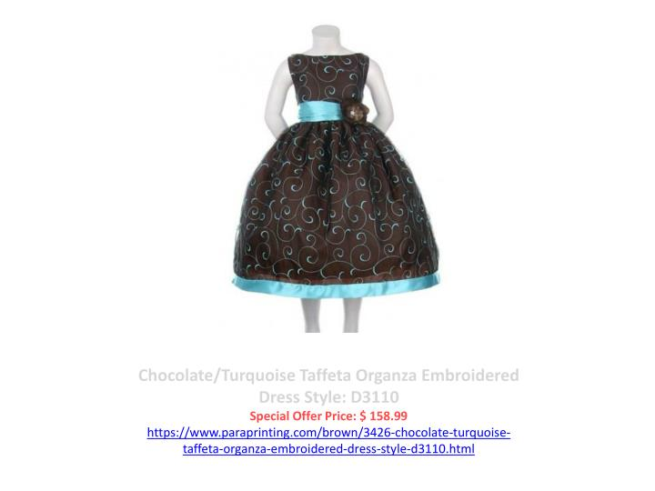 Chocolate/Turquoise Taffeta Organza Embroidered Dress Style: D3110