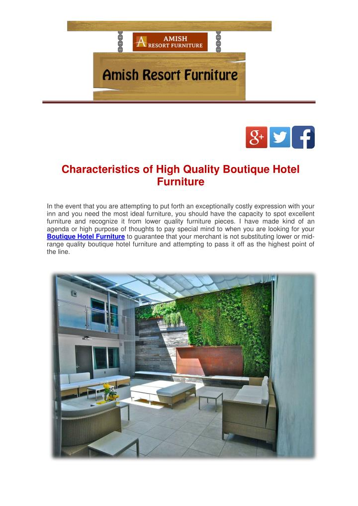 Characteristics of High Quality Boutique Hotel