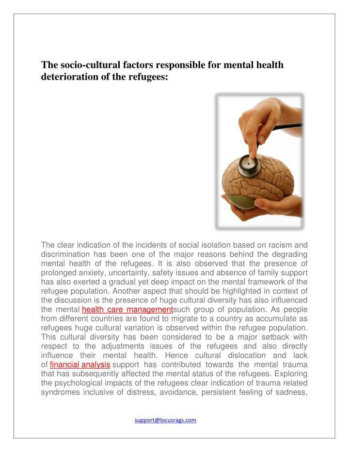 The socio-cultural factors responsible for mental health