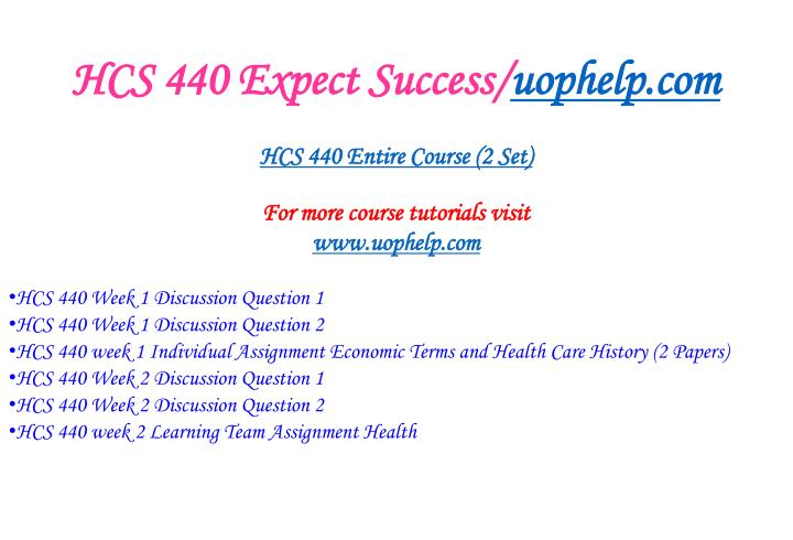 Hcs 440 expect success uophelp com1