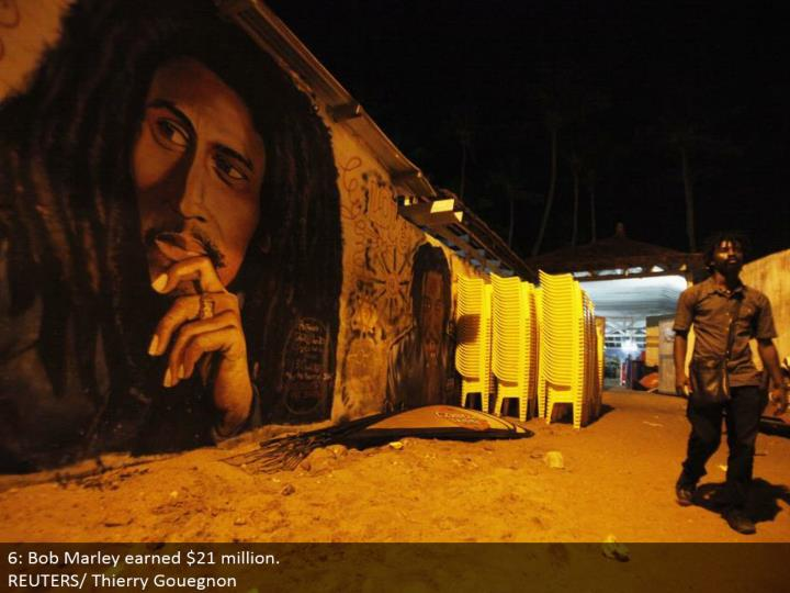 6: Bob Marley earned $21 million.  REUTERS/Thierry Gouegnon