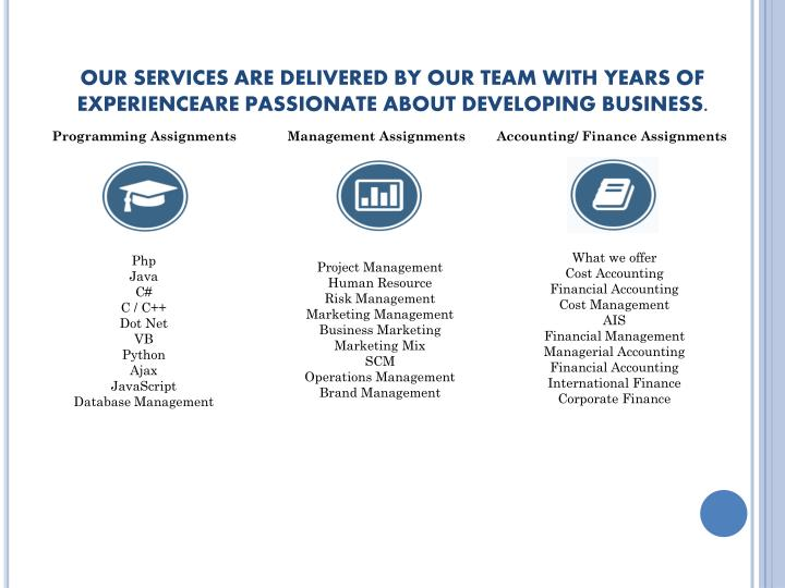 OUR SERVICES ARE DELIVERED BY OUR TEAM WITHYEARS OF EXPERIENCEAREPASSIONATEABOUT DEVELOPING BU...