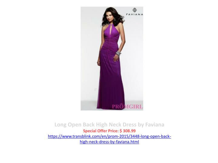 Long Open Back High Neck Dress by Faviana