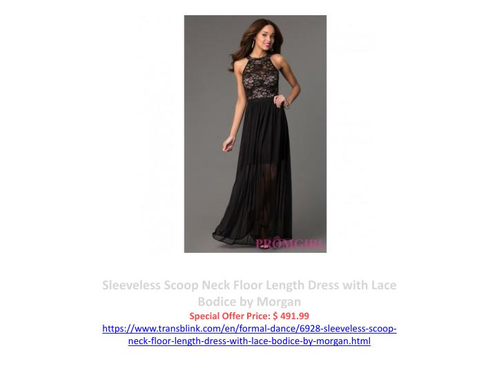 Sleeveless Scoop Neck Floor Length Dress with Lace Bodice by Morgan