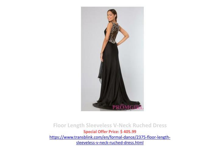 Floor Length Sleeveless V-Neck Ruched Dress