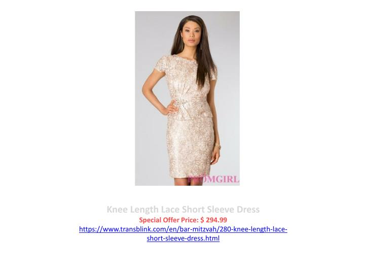 Knee Length Lace Short Sleeve Dress