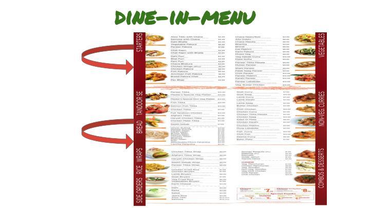 Dine-in-menu