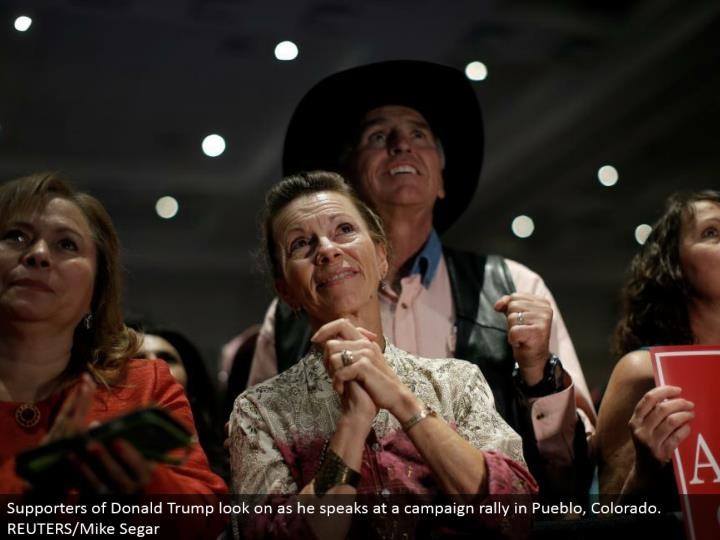 Supporters of Donald Trump look on as he talks at a crusade rally in Pueblo, Colorado. REUTERS/Mike Segar