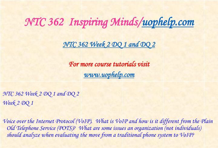 NTC 362  Inspiring Minds/