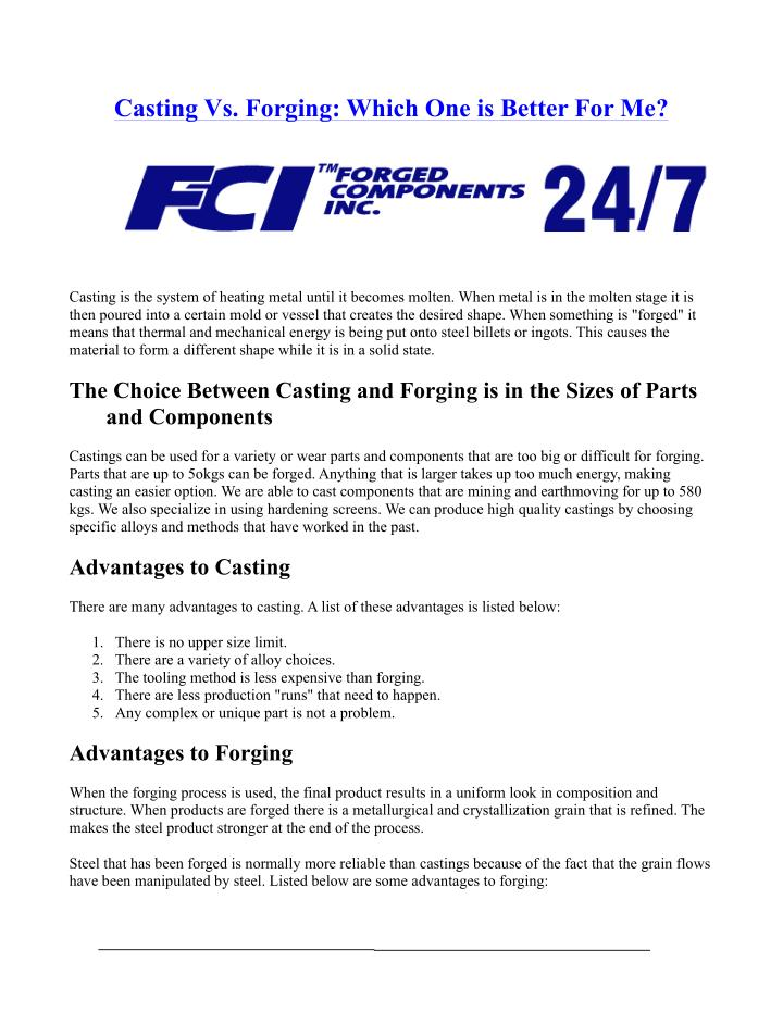 Casting Vs. Forging: Which One is Better For Me?