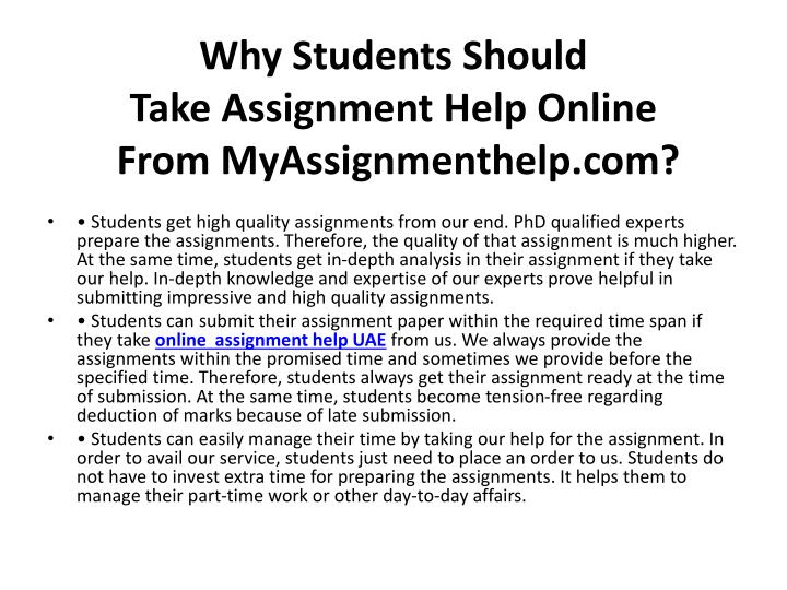 Why students should take assignment help online from myassignmenthelp com