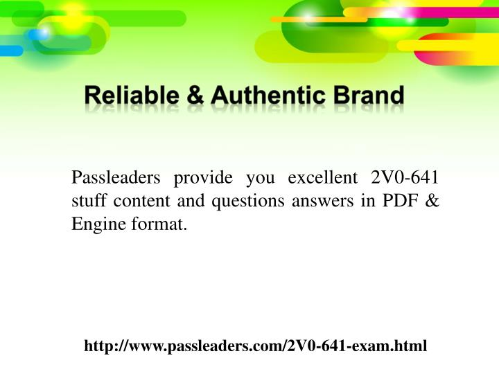 Passleaders provide you excellent 2V0-641 stuff content and questions answers in PDF & Engine format...