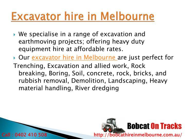 Excavator hire in Melbourne