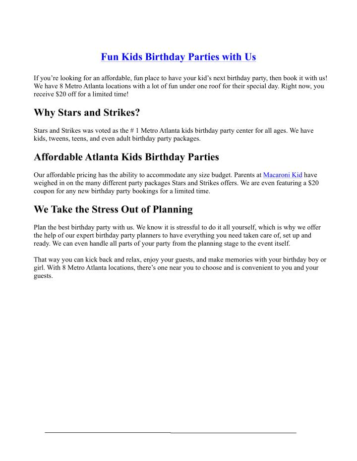 Fun Kids Birthday Parties with Us