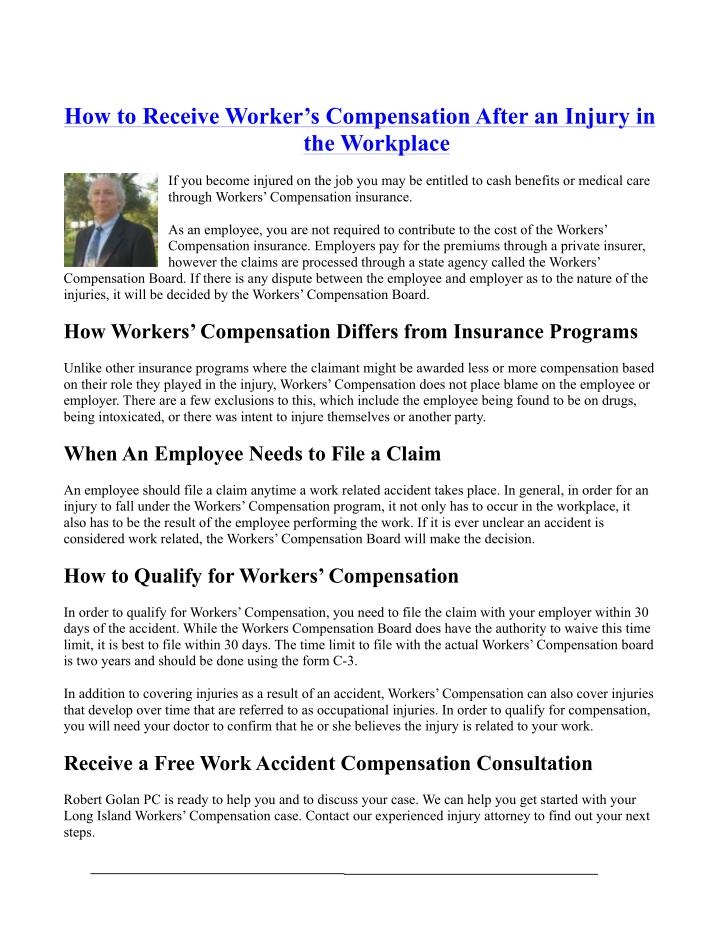How to Receive Worker's Compensation After an Injury in