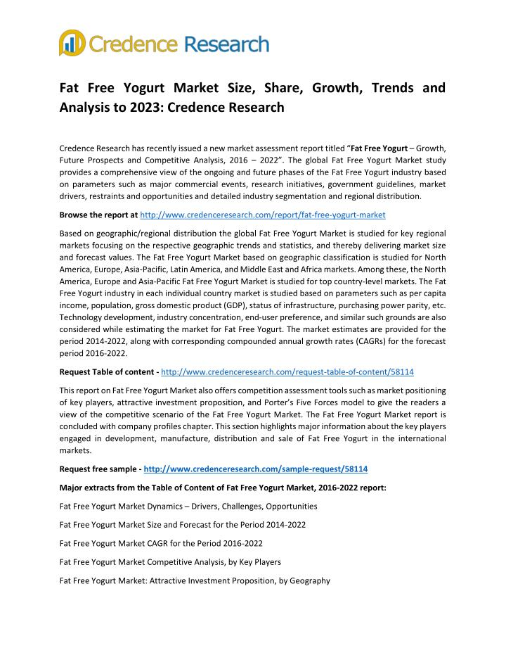 Fat Free Yogurt Market Size, Share, Growth, Trends and