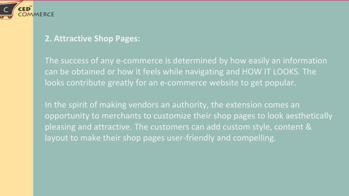 2. Attractive Shop Pages: