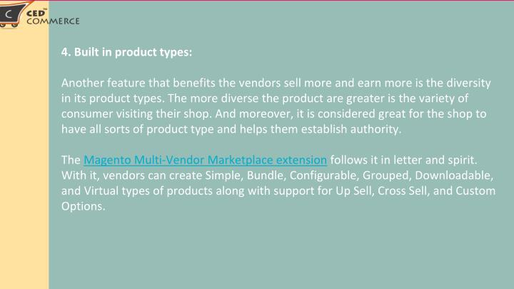 4. Built in product types: