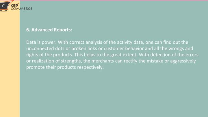 6. Advanced Reports: