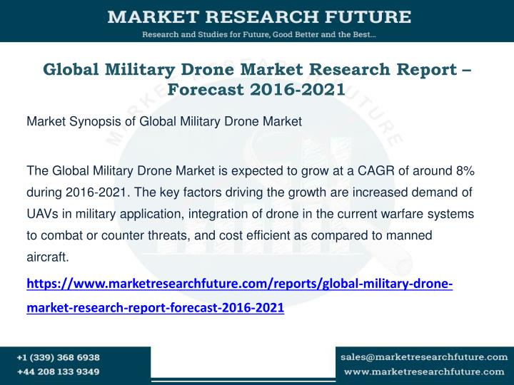 Global military drone market research report forecast 2016 2021