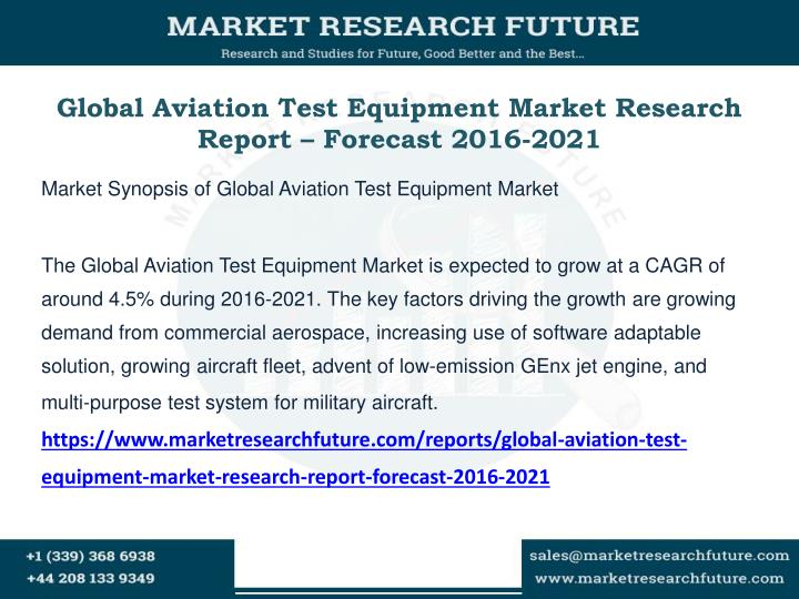 Global aviation test equipment market research report forecast 2016 2021