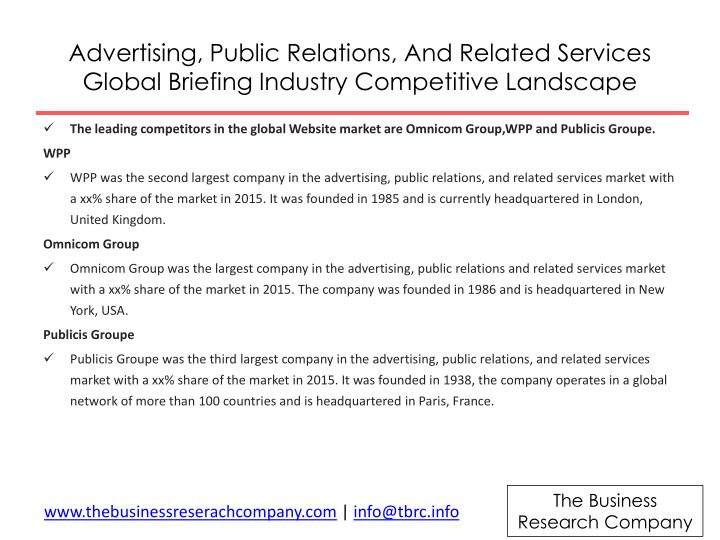Advertising, Public Relations, And Related Services Global Briefing