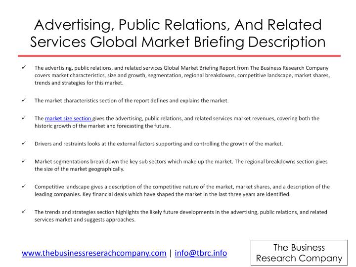 Advertising, Public Relations, And Related Services Global Market Briefing