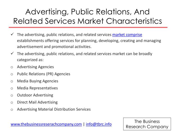 Advertising public relations and related services market characteristics