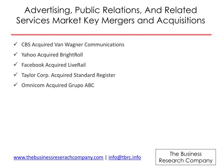 Advertising, Public Relations, And Related Services Market Key Mergers and Acquisitions