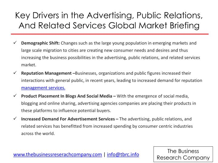 Key drivers in the advertising public relations and related services global market briefing