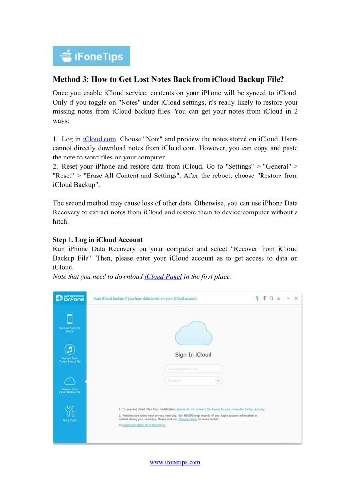 Method 3: How to Get Lost Notes Back from iCloud Backup File?