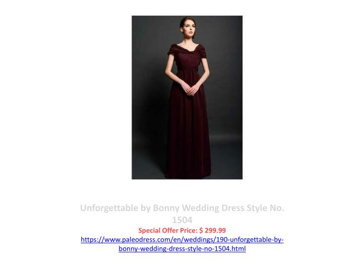 Unforgettable by Bonny Wedding Dress Style No. 1504