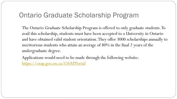 Ontario Graduate Scholarship Program