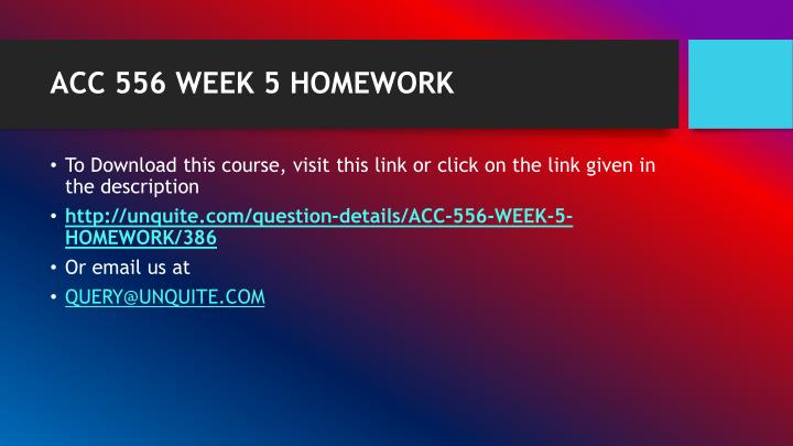 Acc 556 week 5 homework1
