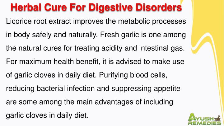 Herbal Cure For Digestive Disorders