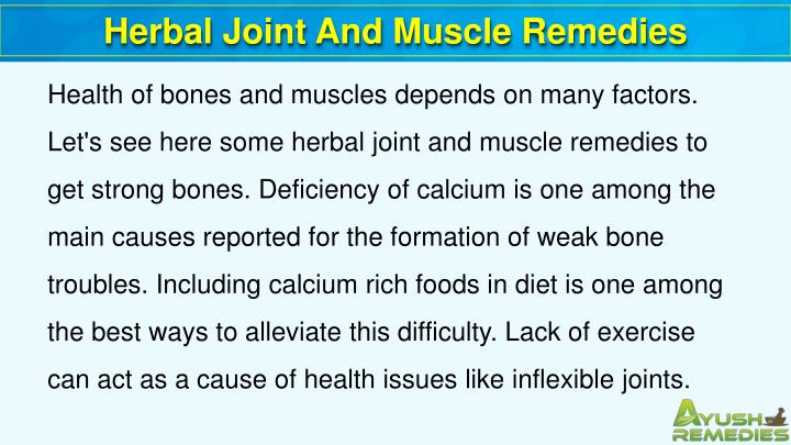 Herbal Joint And Muscle Remedies