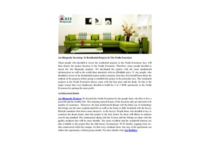 Ats rhapsody investing in residential projects in the noida extension
