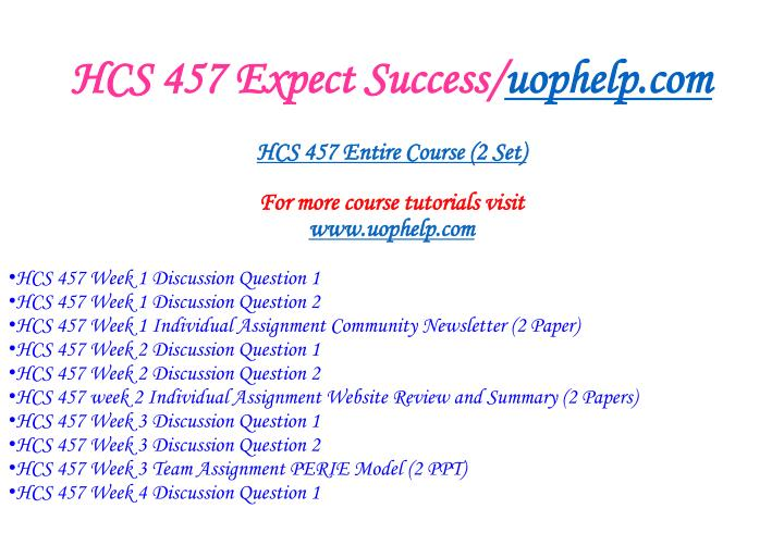 Hcs 457 expect success uophelp com1