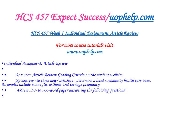 Hcs 457 expect success uophelp com2