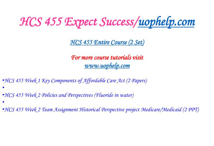 Hcs 455 expect success uophelp com1