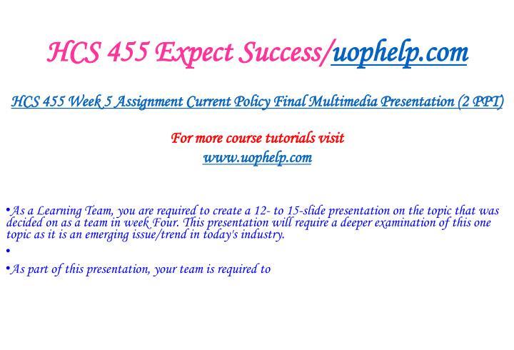 HCS 455 Expect Success/