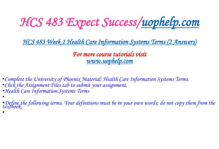 Hcs 483 expect success uophelp com2