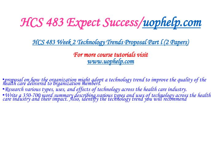 HCS 483 Expect Success/