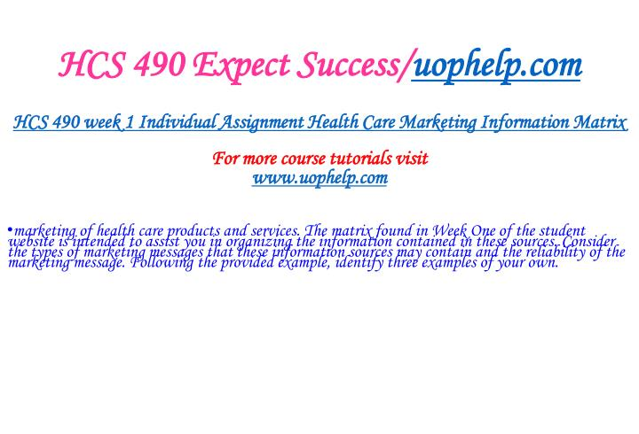 Hcs 490 expect success uophelp com2