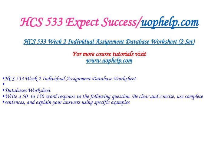 Hcs 533 expect success uophelp com2
