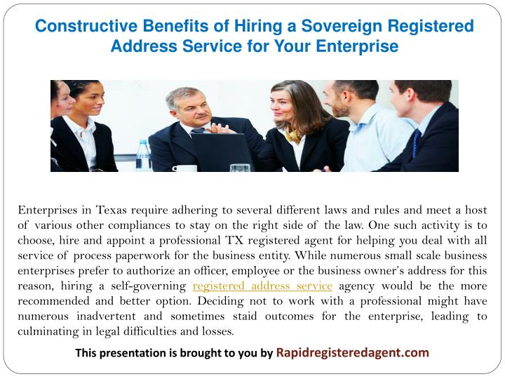 Constructive Benefits of Hiring a Sovereign Registered Address Service for Your Enterprise