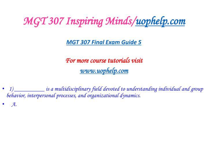 MGT 307 Inspiring Minds/