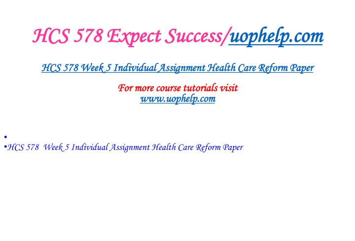 HCS 578 Expect Success/
